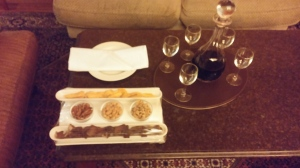 Wine and snacks were waiting