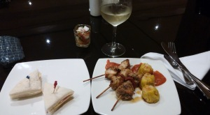 My dinner and glass of wine at the lounge