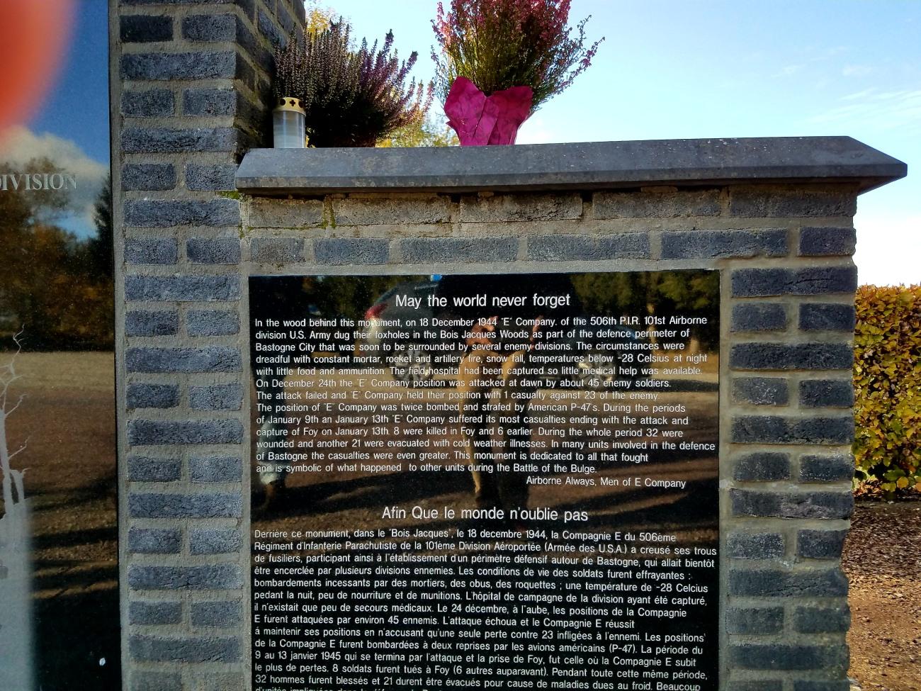 Easy Company memorial