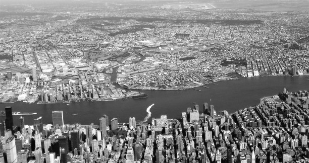 United Nations building (lower left) and Laguardia Airport (top right)
