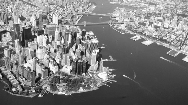 Battery Park, Wall Street district, and East River