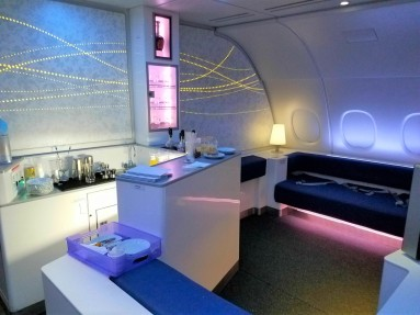 The Celestial Bar is located on the A380 second deck at the rear of the plane