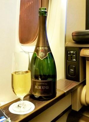 Krug champagne for a pre-departure beverage