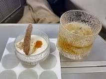 Amuse bouche of fish roe and creamy onion sauce paired with Glenfiddich Select Cask Single Malt scotch.
