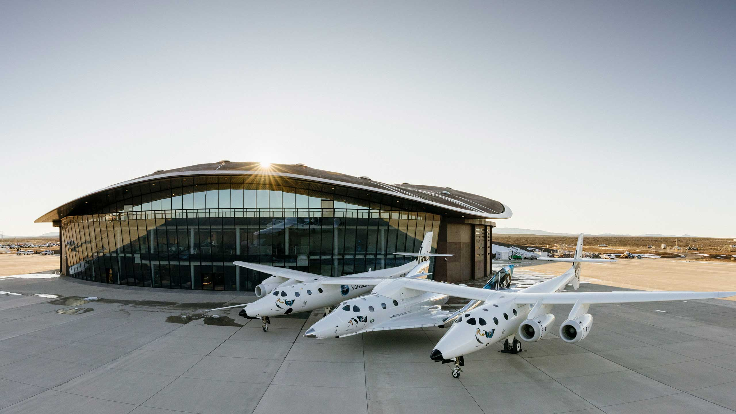 The Virgin Galactic Spaceflight System in front of Spaceport America