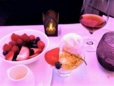 Ice cream, fresh fruit and dessert wine